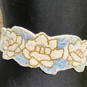 Vintage Belt White Floral Seed Bead Dainty Velcro